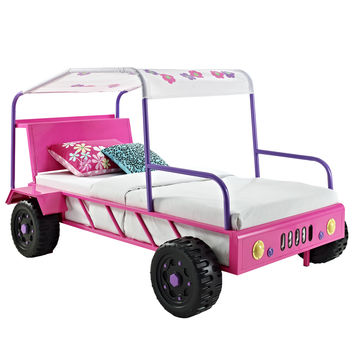 Powell Girls Buggy Twin Bed in Pink & Purple