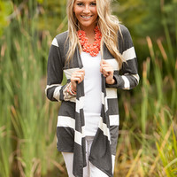The Perfect Striped Cardigan Charcoal