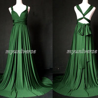 Deep Green Bridesmaid Dress Wedding Dress Infinity Dress Wrap Convertible Dress Formal Dress Jersey