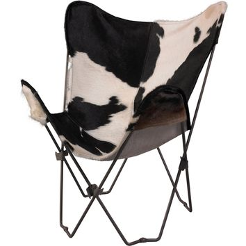 Linon Butterfly Chair w/ Metal Frame & Black & White Genuine Cowhide