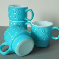 Vintage Turquoise Milk Glass Mugs -.. on Luulla