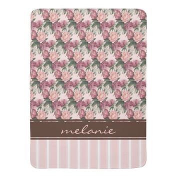 French Pink Roses Stripe Personalized Baby Blanket