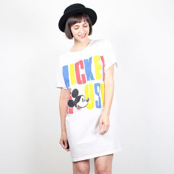 Vintage 80s Tshirt Dress MICKEY MOUSE T shirt Dress Extra Long Tee Disney 1980s Color Block Mini Dress Oversized White Yellow Red Blue OS
