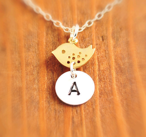 Personalized Bird Necklace - initial necklace, mother necklace, personalized jewelry, silver bird necklace, hand stamped disk