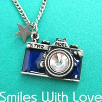 Camera Necklace in Blue with Rhinestone Lens | dotoly - Jewelry on ArtFire