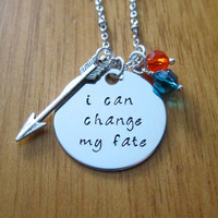 """Disney's """"Brave"""" Inspired Necklace. Merida quote """"I can change my fate"""". Silver colored, Swarovski crystals, for women or girls"""