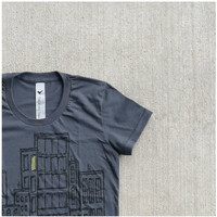 Womens tshirt - gray and yellow - SMALL - urban skyline print on American Apparel 50/50 tees - Don't Wait Up
