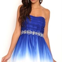 Strapless Short Ombre Homecoming Dress with Stone Trim Waist