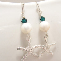 Fresh water pearl &amp; Teal swarovski crystal with silver plated starfish - Bride or Bridesmaids earrings FREE SHIPPING
