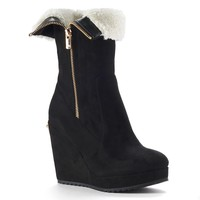 Juicy Couture Black Kasia Women's Fold-Over Platform Wedge Ankle Boots