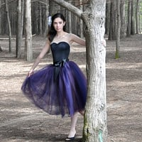 Plum and navy tulle tutu skirt for women. Romantic fall and summer fashion for women.