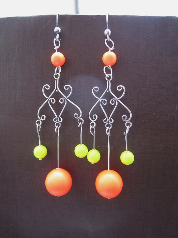 Neon Chandelier Earrings Orange and Yellow
