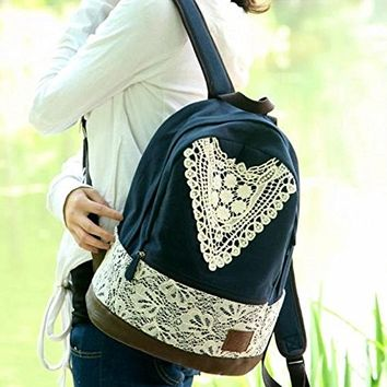 Preppy Look Lace Crochet Canvas Backpack