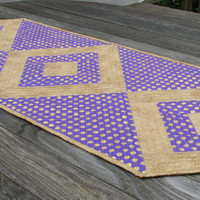 Purple and Gold Quilted Table Runner, team colors, Back to School