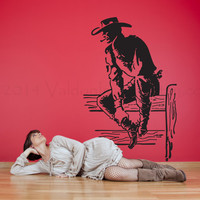 Cowboy sitting on a fence vinyl wall decal, wall sticker, decal, vinyl decal, image, home decor, graphic, wall art
