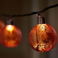 Orange Mercury Glass Pumpkin String Lights
