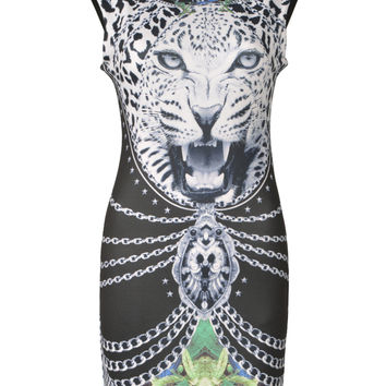 3D Leopard Head Digital Printing Sleeveless Bodycon Dress - Choies.com