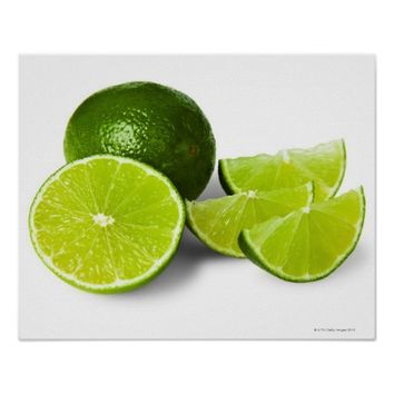 Sliced lime wedge, on white background, cut out