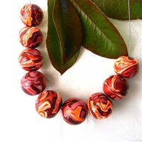 Red Orange Mahogany and White PolyClay Beads Handmade Jewelry Supplies | craftsofthepast - Jewelry on ArtFire