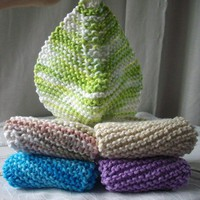 Set of handknit washcloths in blue green cream and purple