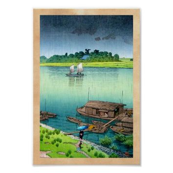Cool oriental japanese scenery river side rain art