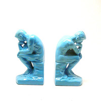 thinking man bookends vintage  //  bright blue, turquoise, colorful accessories, modern home decor, upcycled book ends, mid century