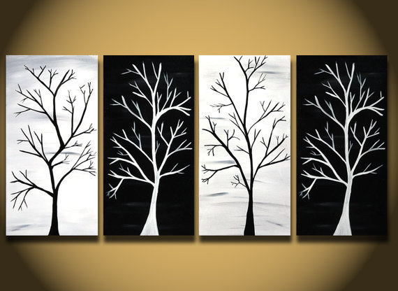 Black And White Painting Huge Tree From Oritart On Etsy