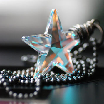 Crystal Star Necklace, Swarovski Crystal Star Pendant and Oxidized Sterling Silver, Northern Lights - Make a Wish
