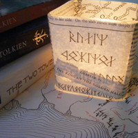 Lord of the Rings Decoupaged Book Pages Candle Holder