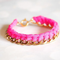 Gold and Neon Pink Braided Chain Bracelet