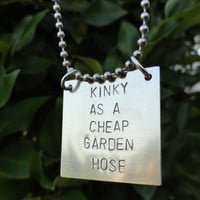 Silver Square Necklace - &quot;Kinky as a cheap garden hose&quot;