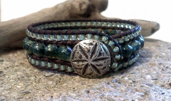 Picasso Blue Beaded Leather Cuff Bracelet, Sand Dollar Button, Chan Luu Inspired, PZW070