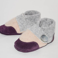 Baby Shoes, Cashmere Toddler Slippers, Soft Leather Bottoms, Eco- Friendly and Handmade in the USA.Sizes:0-12M, 6-18M & 12-24M. Purple Plums