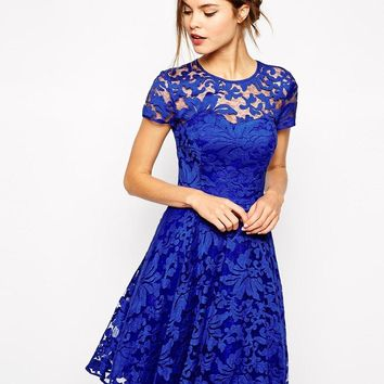 Ted Baker | Ted Baker Lace Dress with Sheer Floral Overlay at ASOS