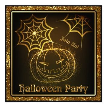 Halloween Pumpkin Sparkle Party Invitation