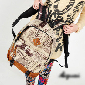 [US$ 14.39] Fashion Newspaper Pattern Couple Backpack(36cm*10cm*44cm)