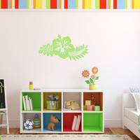Hibiscus Hawaiian Flower with Fern Leaves Vinyl Wall Decal 22446