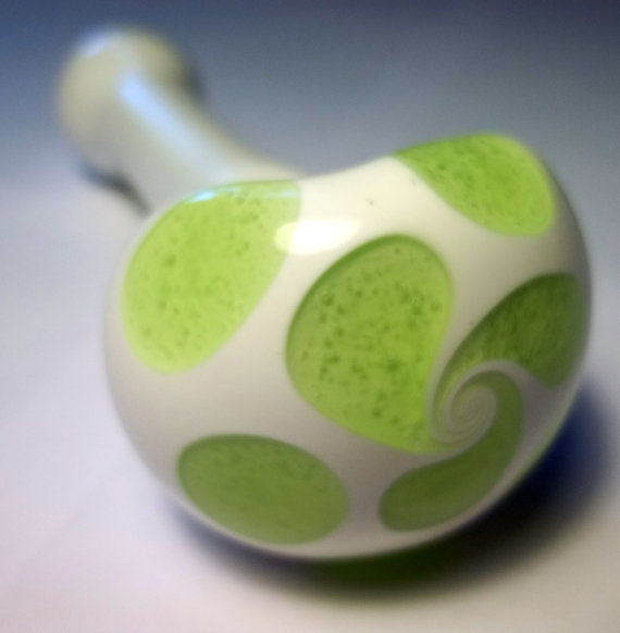 Glass Pipe, Slime Green Dotted Pipe, Design your own Pipe, White Pipe with Custom Color Dots, Cgge Team