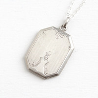 Antique Sterling Silver Flower Locket- Vintage Art Deco 1920s 1930s Linear & Floral Etched Large Rectangular Jewelry