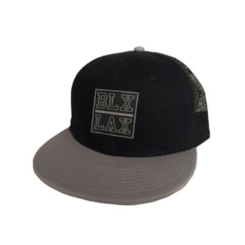 Black/Gray Flat Bill Hat - BLXLAX | Lacrosse Lifestyle Apparel