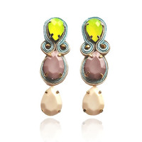 TALL CAPPUCCINO soutache earrings in blue, ivory, and taupe with neon lime, Free internatioal shipping
