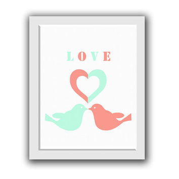 Love Art, Printable, Birds Love Design,   Bird Nursery, Nursery Art, Baby Girl Nursery, Wall Decor, wedding gift, Pink and blue decor, 8X10