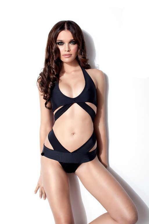 Black Halter Monokini Bathing Suit