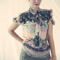 Paint Print Silk Chiffon Bow Tie Cotton Candy Blouse in Past