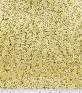 Brocade Fabric-Gold Swirl  # 1645266