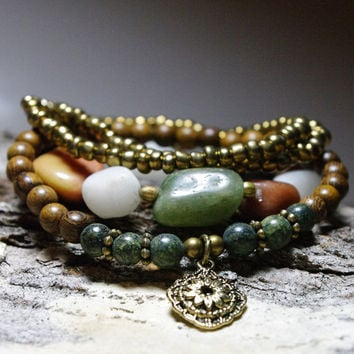 Sale - Gypsy Street Chic Beggar Bead, Wood and Serpentine Stretch Bracelets