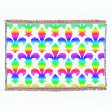 Rainbow Fleur de Lis Throw Blanket