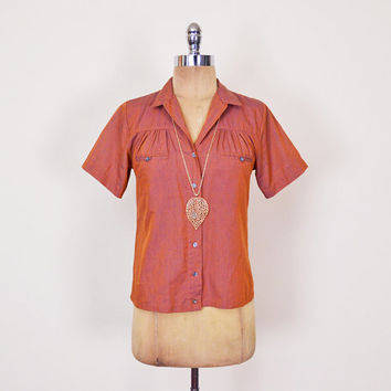Iridescent Copper Shirt Short Sleeve Button Up Shirt Blouse Top Ruch Blouse 70s Shirt 70s Blouse 80s Shirt 80s Blouse Women S Small