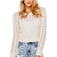 Cable Knit Crop Sweater in Cream