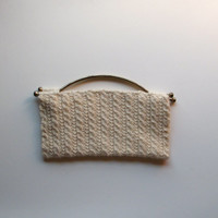 Hand Knit Cable Clutch in Cream with Vintage Handles